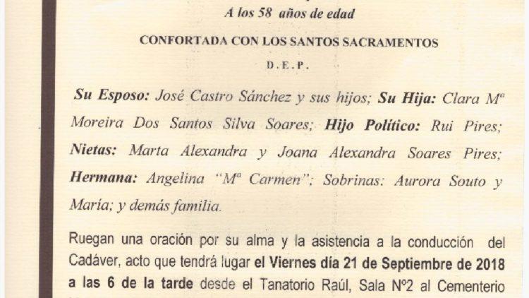 DOÑA Mª ARMINDA MOREIRA DOS SANTOS SILVA