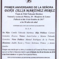 PRIMER ANIVERSARIO DE DOÑA CELIA MARTINEZ PEREZ