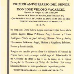 PRIMER ANIVERSARIO DE D. JOSE VELOSO VALCARCEL .