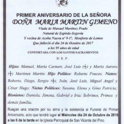 PRIMER ANIVERSARIO DE DOÑA MARIA MARTIN GIMENO