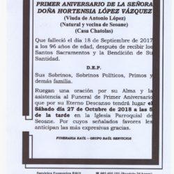PRIMER ANIVERSARIO DE DOÑA HORTENSIA LOPEZ VAZQUEZ