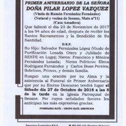 PRIMER ANIVERSARIO DE DOÑA PILAR LOPEZ VAZQUEZ