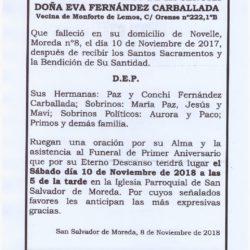 PRIMER ANIVERSARIO DE DOÑA EVA FERNÁNDEZ CARBALLADA