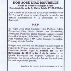 PRIMER ANIVERSARIO DE DON JOSÉ DÍAZ MOURELLE