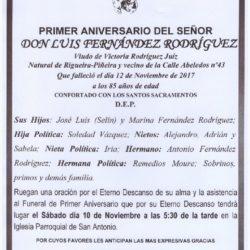 PRIMER ANIVERSARIO DE DON LUÍS FERNÁNDEZ RODRÍGUEZ