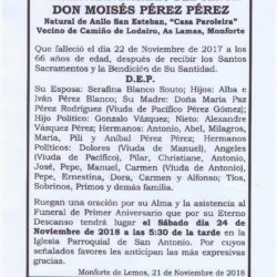 PRIMER ANIVERSARIO DE DON MOISES PEREZ PEREZ