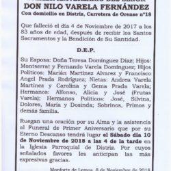 PRIMER ANIVERSARIO DE DON NILO VARELA FERNÁNDEZ