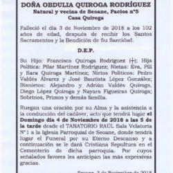 DOÑA OBDULIA QUIROGA RODRÍGUEZ