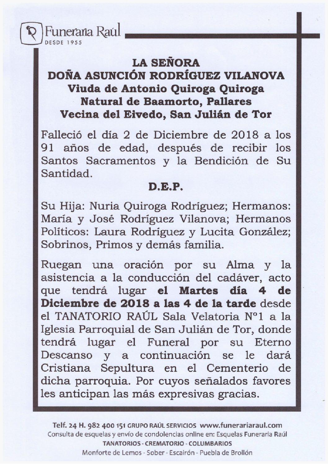 DOÑA ASUNCION RODRIGUEZ VILANOVA