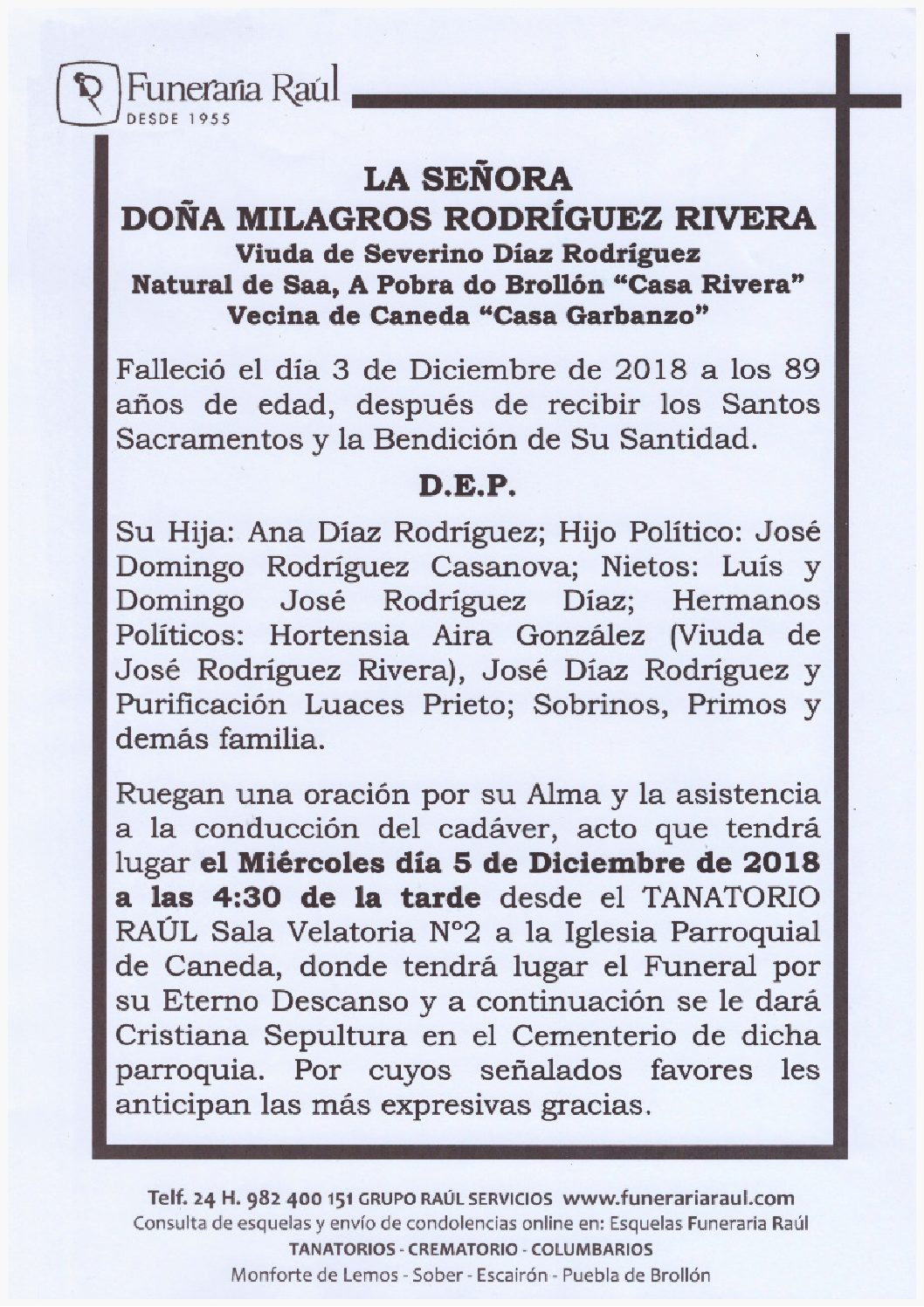 DOÑA MILAGROS RODRIGUEZ RIVERA