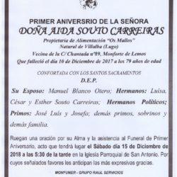 PRIMER ANIVERSARIO DE DOÑA AIDA SOUTO CARREIRAS