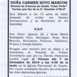 PRIMER ANIVERSARIO DE DOÑA CARMEN SOTO MARCOS