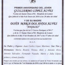 PRIMER ANIVERSARIO DE DON GUILLERMO LOPEZ Y DOÑA MARIA DOS ANJOS