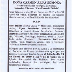 PRIMER ANIVERSARIO DE DOÑA CARMEN ARIAS SOMOZA