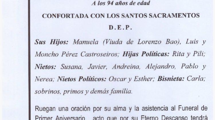PRIMER ANIVERSARIO DE DOÑA CARMEN CASTROSEIROS RODRIGUEZ