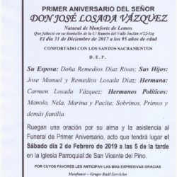 PRIMER ANIVERSARIO DEL SEÑOR JOSE LOSADA VAZQUEZ