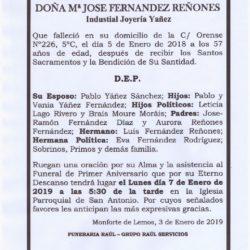 PRIMER ANIVERSARIO DE DOÑA MARIA JOSE FERNANDEZ REÑONES