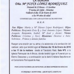 DOÑA MARIA JUSTA LOPEZ RODRIGUEZ