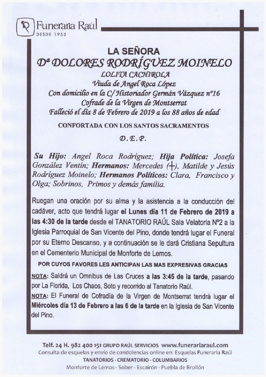 DOÑA DOLORES RODRIGUEZ MOINELO
