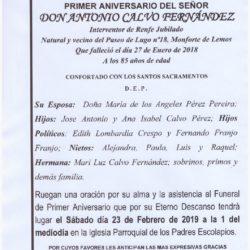 PRIMER ANIVERSARIO DE DON ANTONIO CALVO FERNÁNDEZ