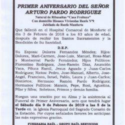 PRIMER ANIVERSARIO DE DON ARTURO PARDO RODRIGUEZ