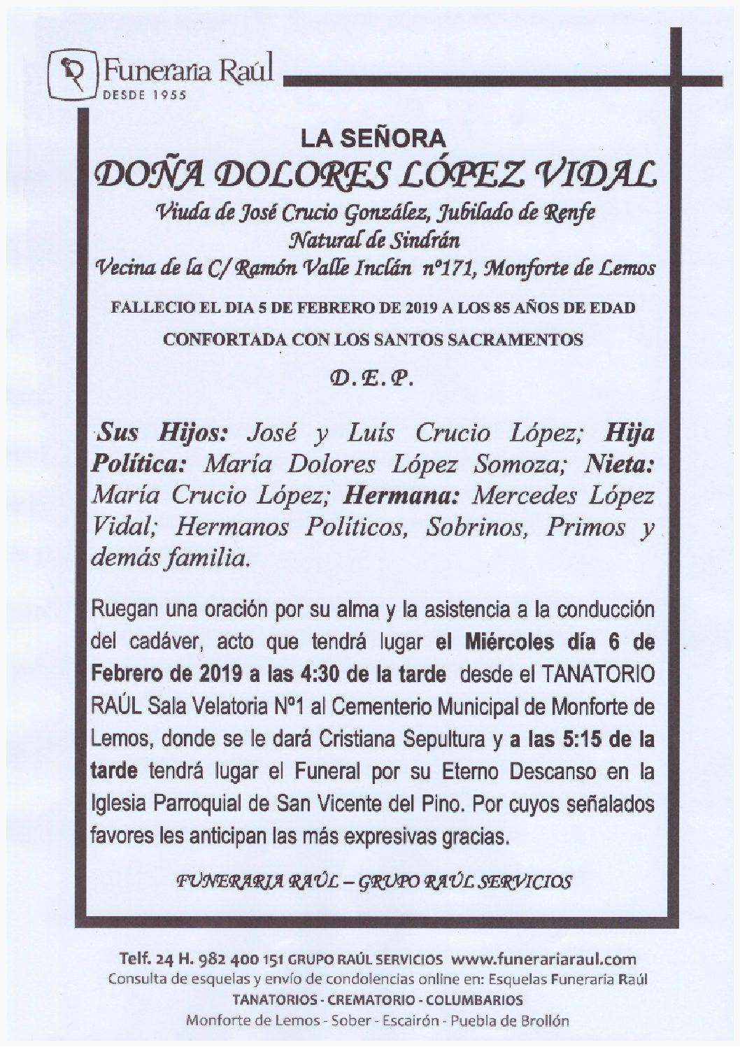 DOÑA DOLORES LOPEZ VIDAL