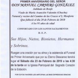 PRIMER ANIVERSARIO DE DON MANUEL CARNERO GONZÁLEZ