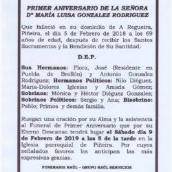 PRIMER ANIVERSARIO DE DOÑA MARIA LUISA GONZALEZ RODRIGUEZ