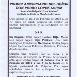 PRIMER ANIVERSARIO DE DON PEDRO LOPEZ LOPEZ