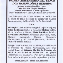 PRIMER ANIVERSARIO DE DON RAMÓN LÓPEZ HERMIDA
