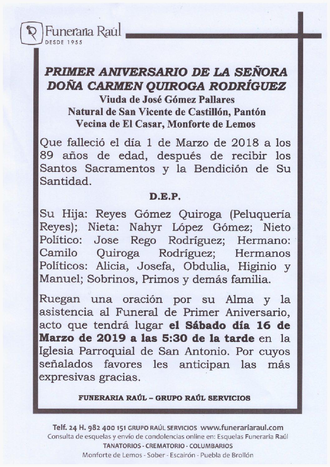 PRIMER ANIVERSARIO DE DOÑA CARMEN QUIROGA RODRIGUEZ
