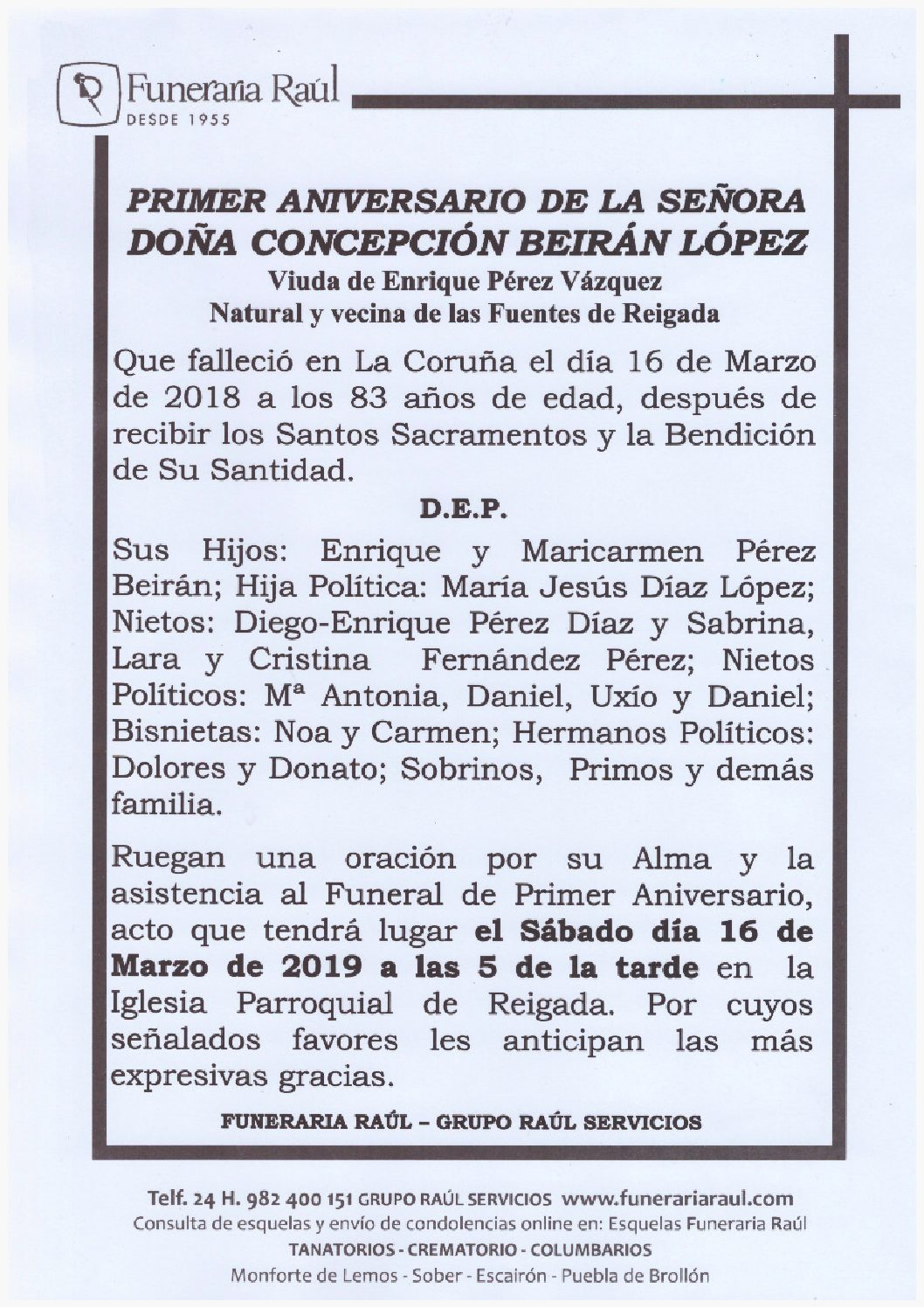 PRIMER ANIVERSARIO DE DOÑA CONCEPCION BEIRAN LOPEZ
