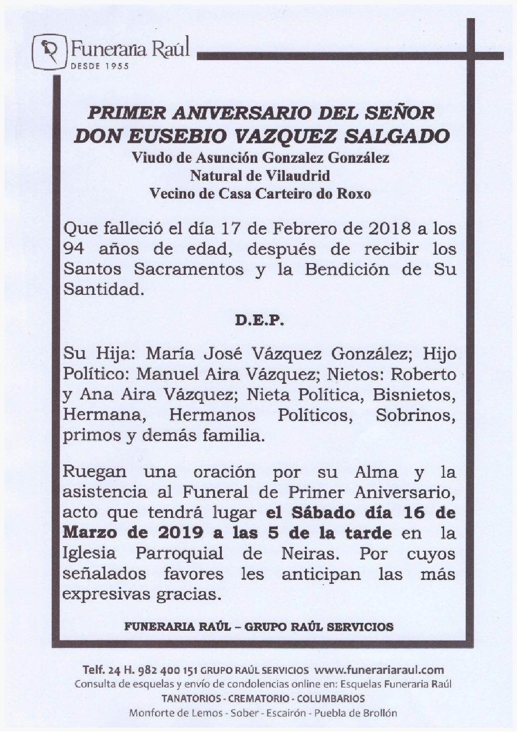 PRIMER ANIVERSARIO DE DON EUSEBIO VAZQUEZ SALGADO
