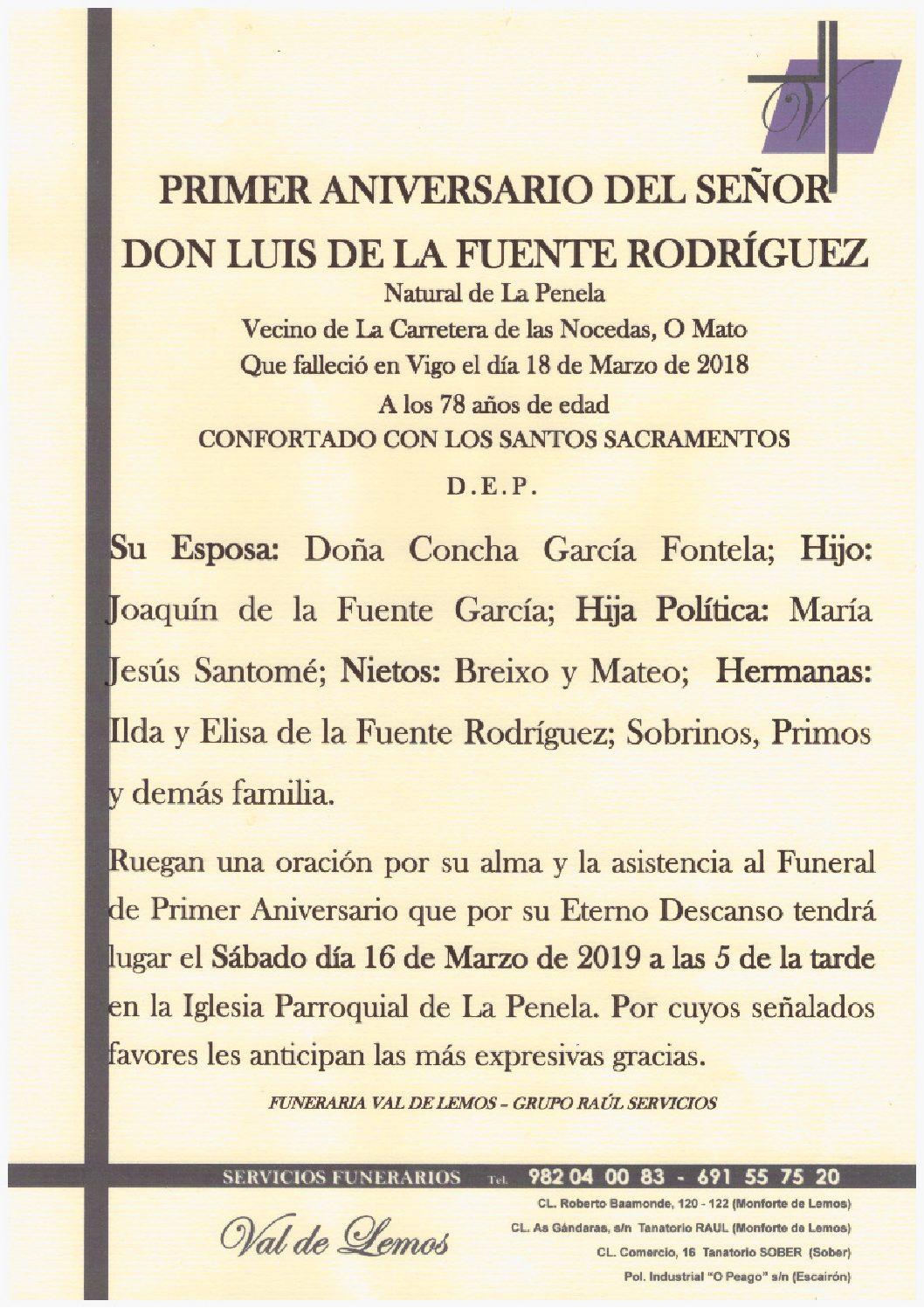PRIMER ANIVERSARIO DE DON LUIS DE LA FUENTE RODRIGUEZ