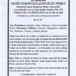 DOÑA HORTENSIA GONZALEZ PEREZ