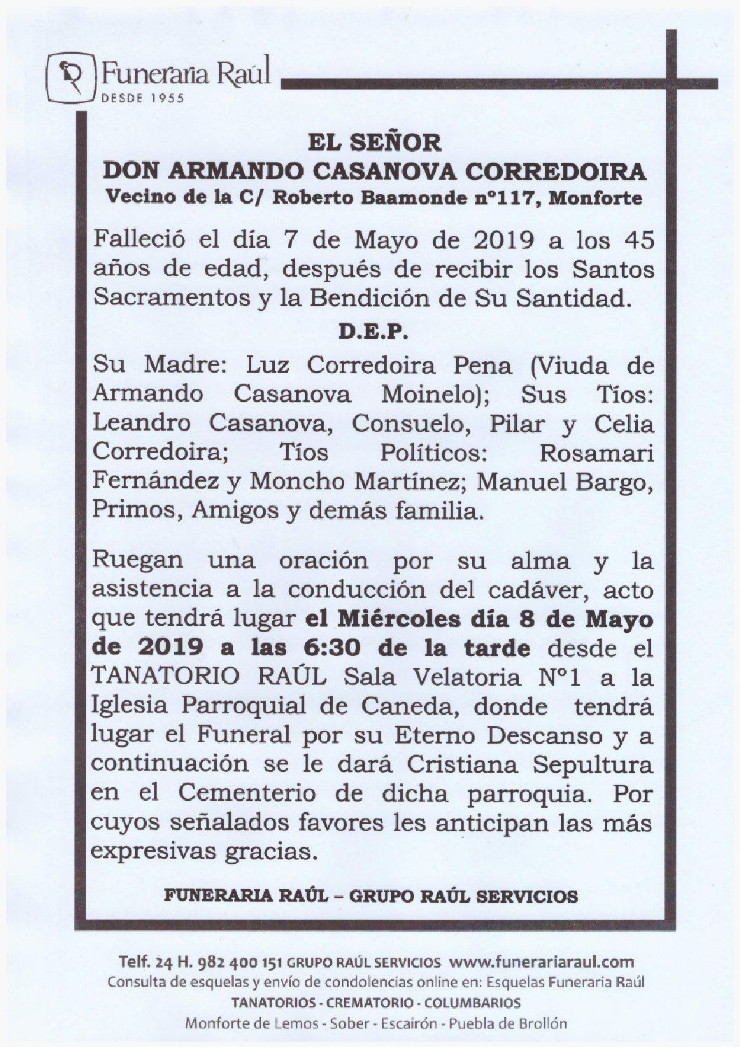 DON ARMANDO CASANOVA CORREDOIRA