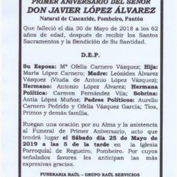 PRIMER ANIVERSARIO DE DON JAVIER LÓPEZ ÁLVAREZ
