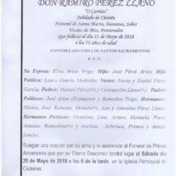 PRIMER ANIVERSARIO DE DON RAMIRO PÉREZ LLANO