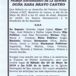 PRIMER ANIVERSARIO DE DOÑA SARA BRAVO CASTRO