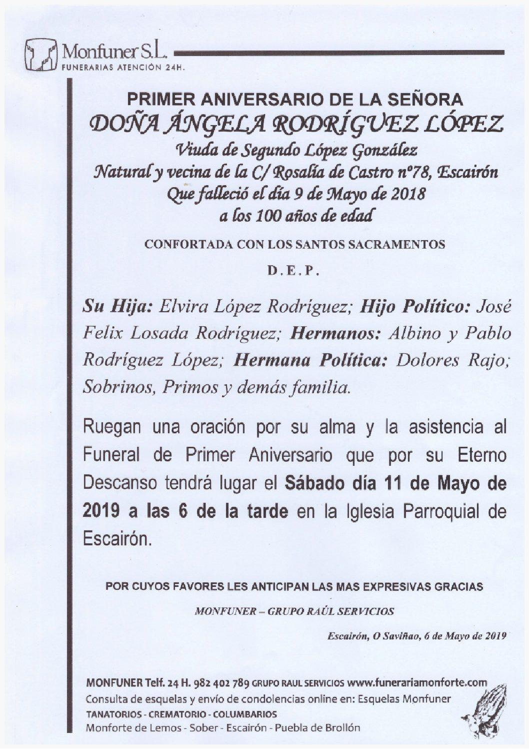 PRIMER ANIVERSARIO DE DOÑA ANGELA RODRIGUEZ LOPEZ