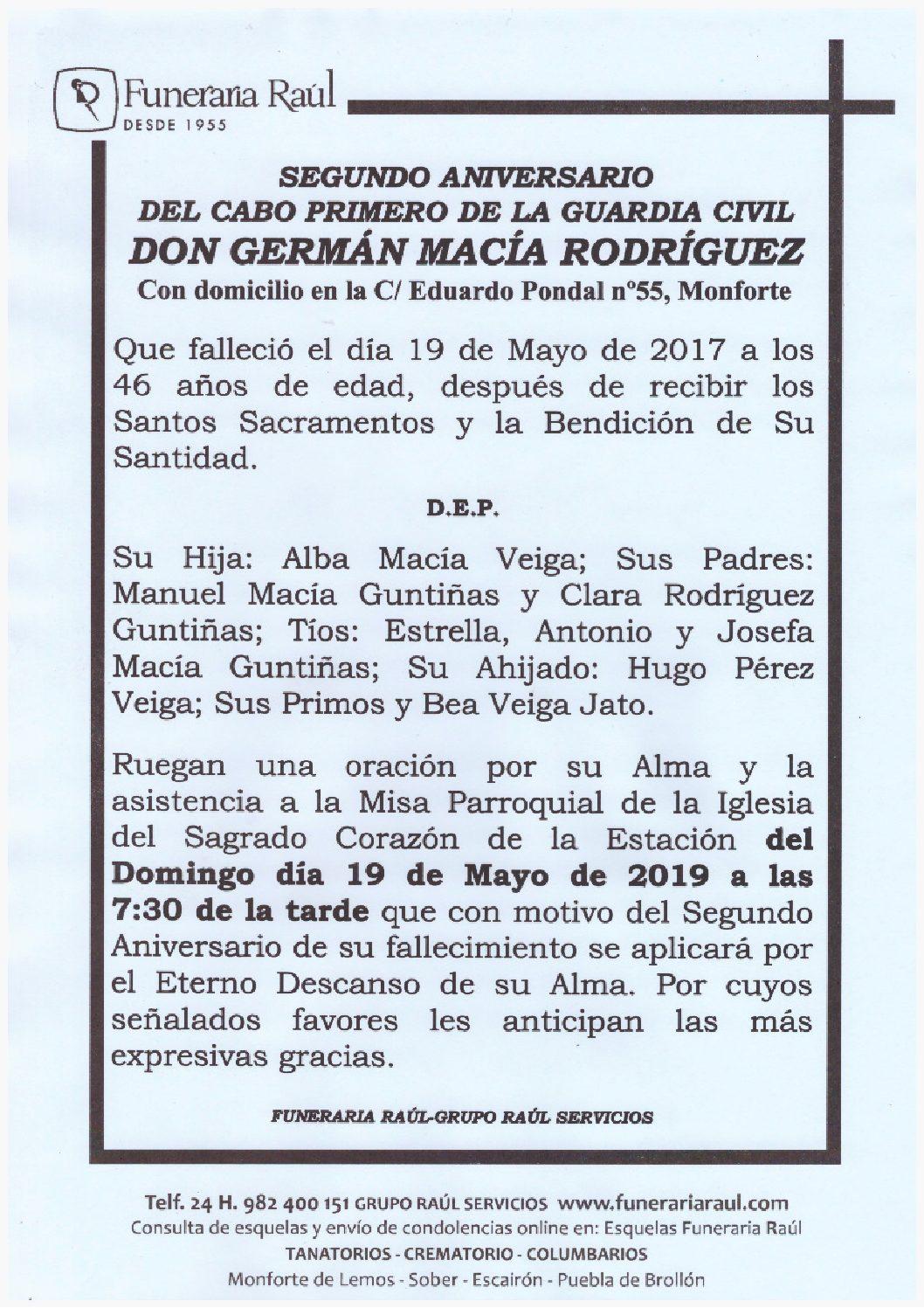SEGUNDO ANIVERSARIO DE DON GERMAN MACIA RODRIGUEZ