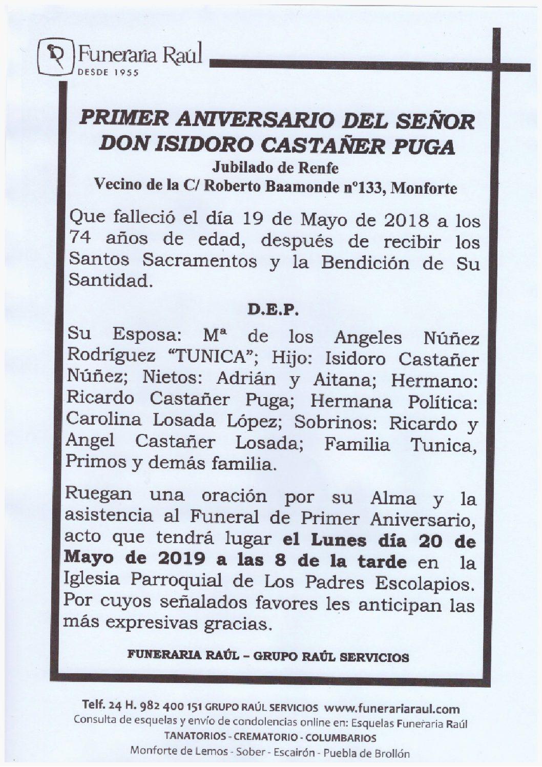 PRIMER ANIVERSARIO DE DON ISIDORO CASTAÑER PUGA