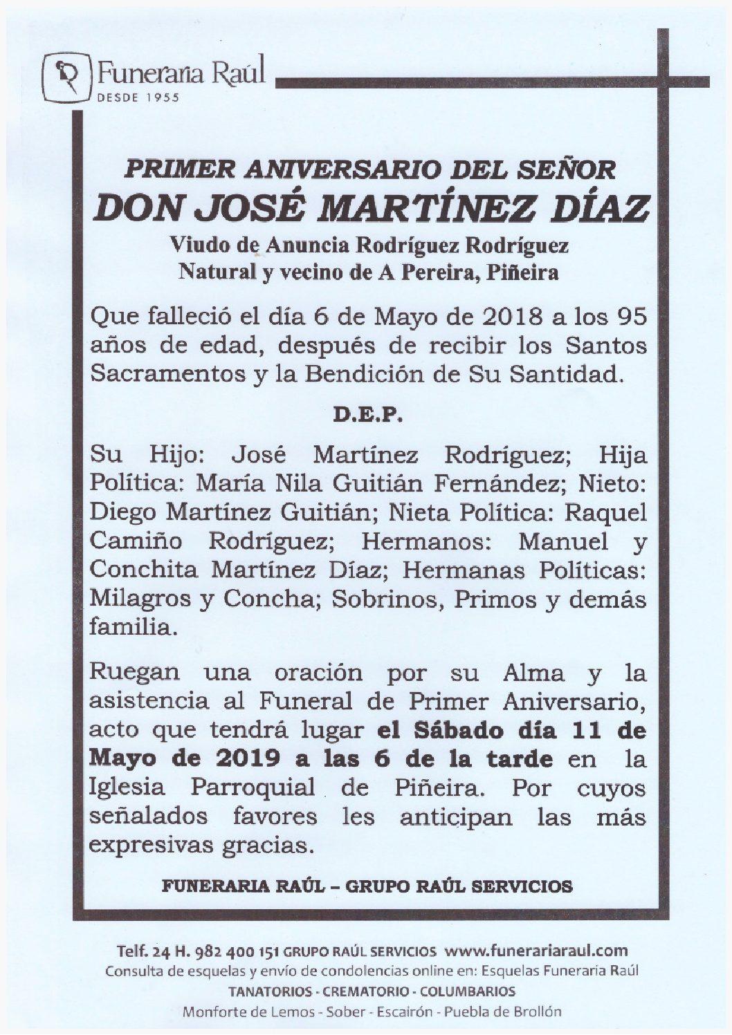 PRIMER ANIVERSARIO DEL SEÑOR DON JOSE MARTINEZ LOPEZ