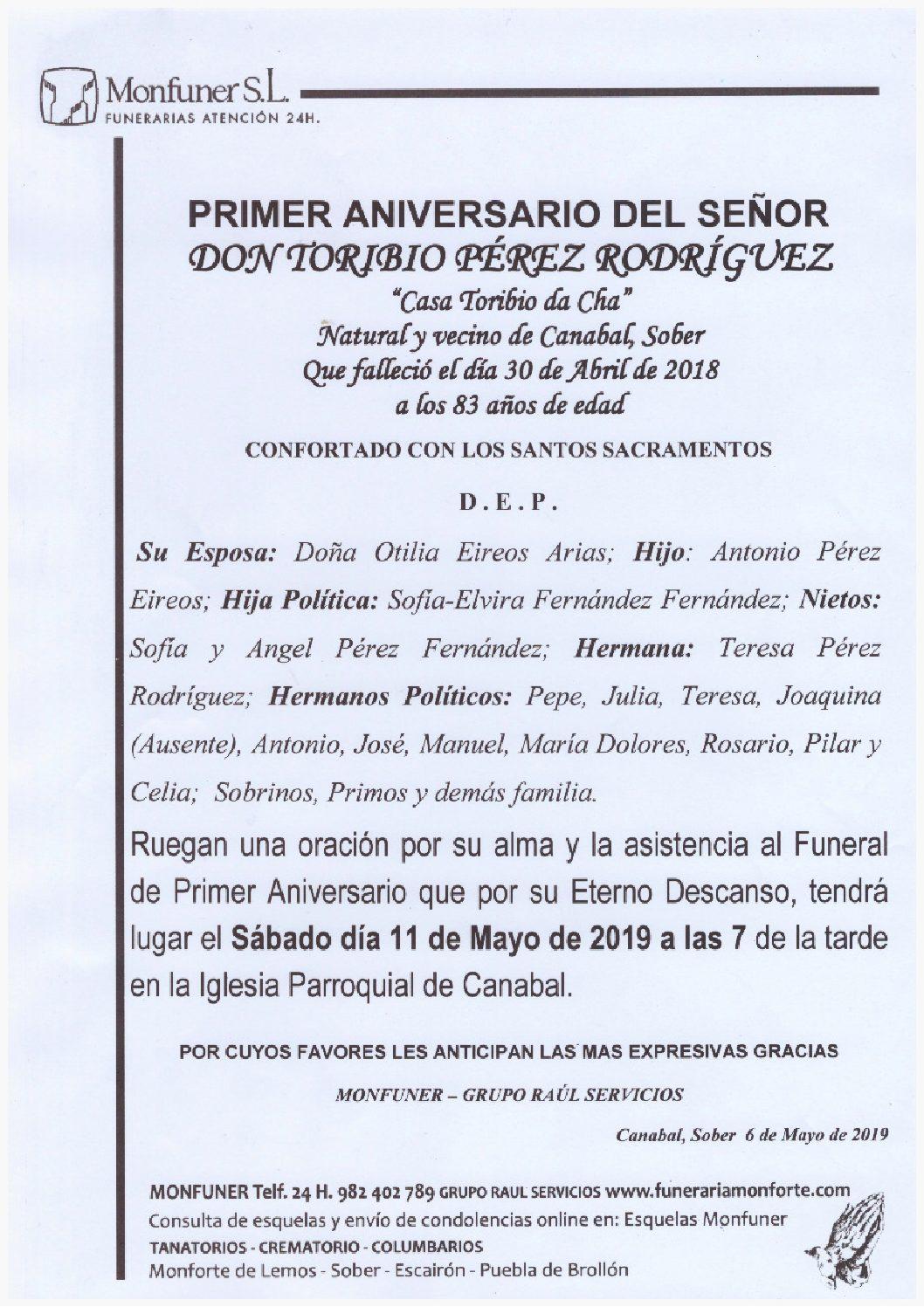 PRIMER ANIVERSARIO DEL SEÑOR DON TORIBIO PEREZ RODRIGUEZ