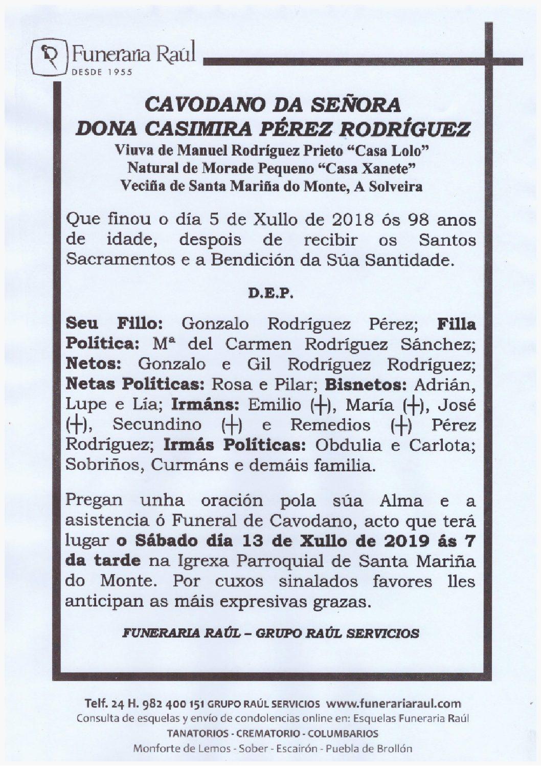 CAVODANO DE DONA CASIMIRA PEREZ RODRIGUEZ