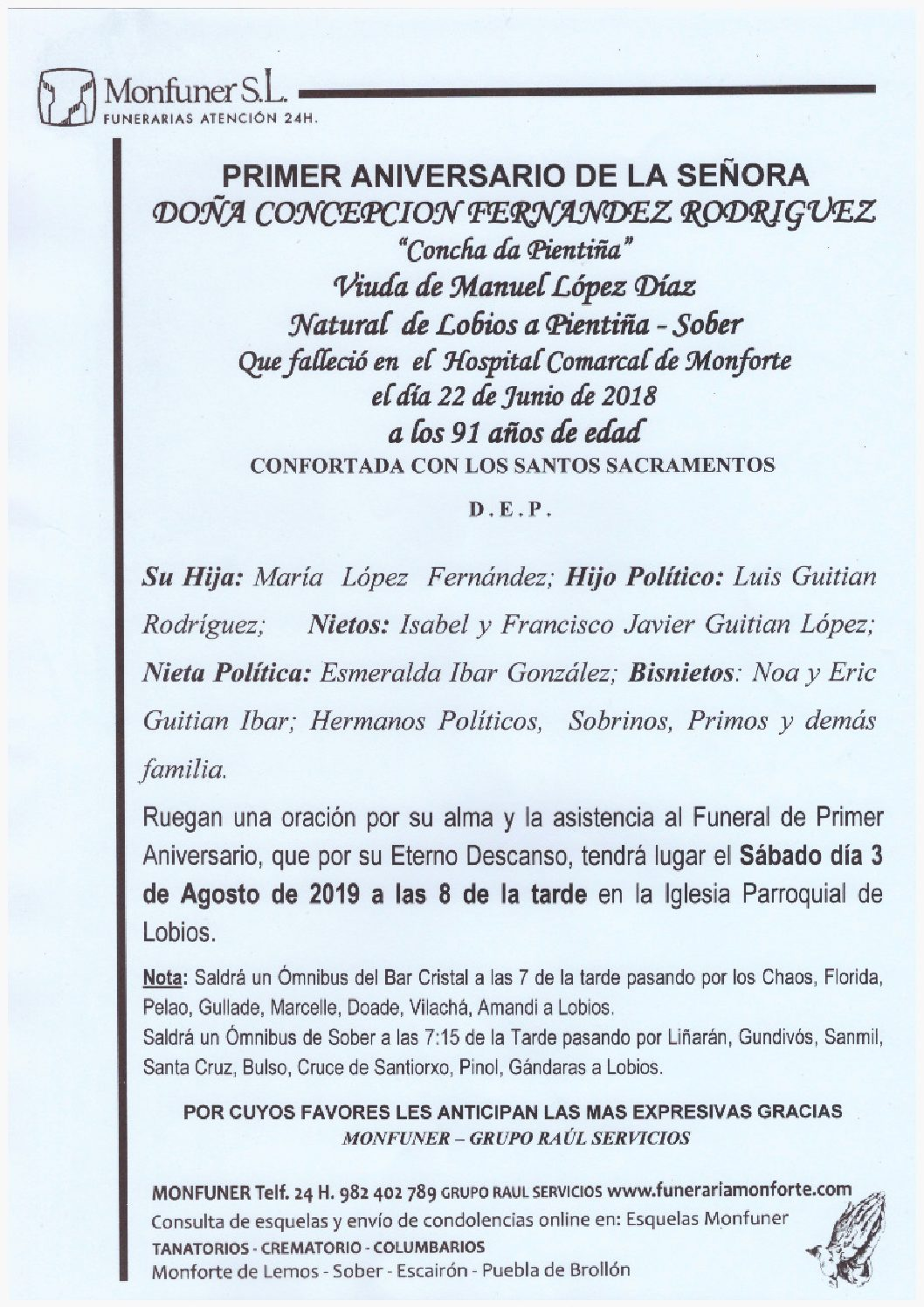 PRIMER ANIVERSARIO DE DOÑA CONCEPCION FERNANDEZ RODRIGUEZ