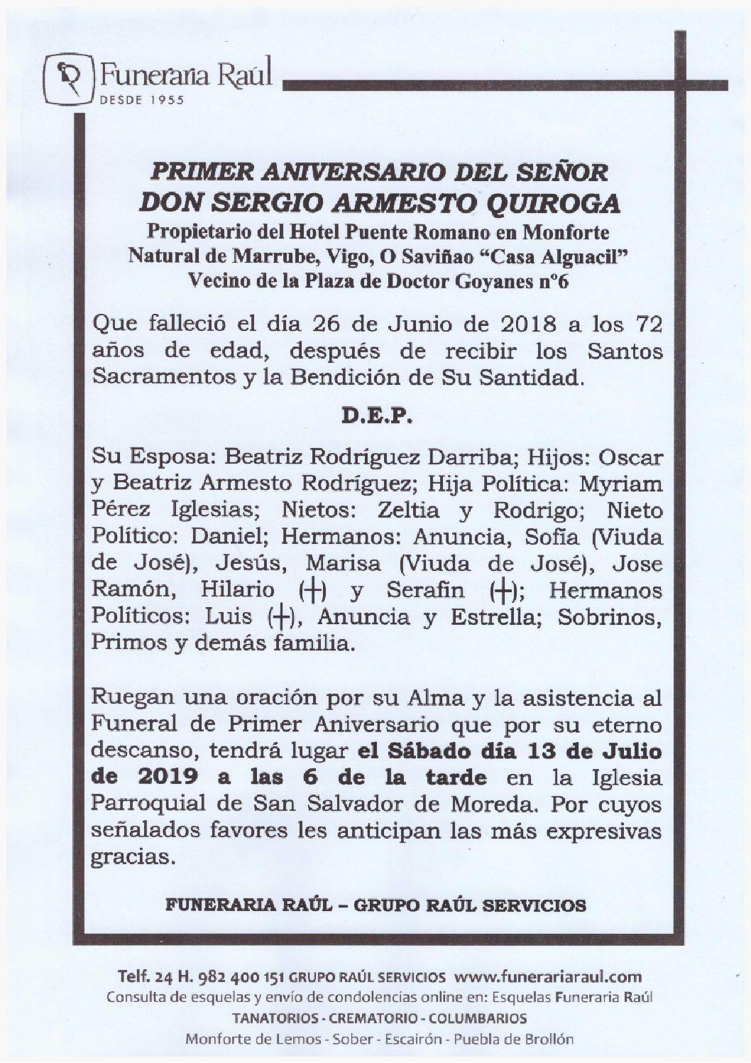 PRIMER ANIVERSARIO DE DON SERGIO ARMESTO QUIROGA