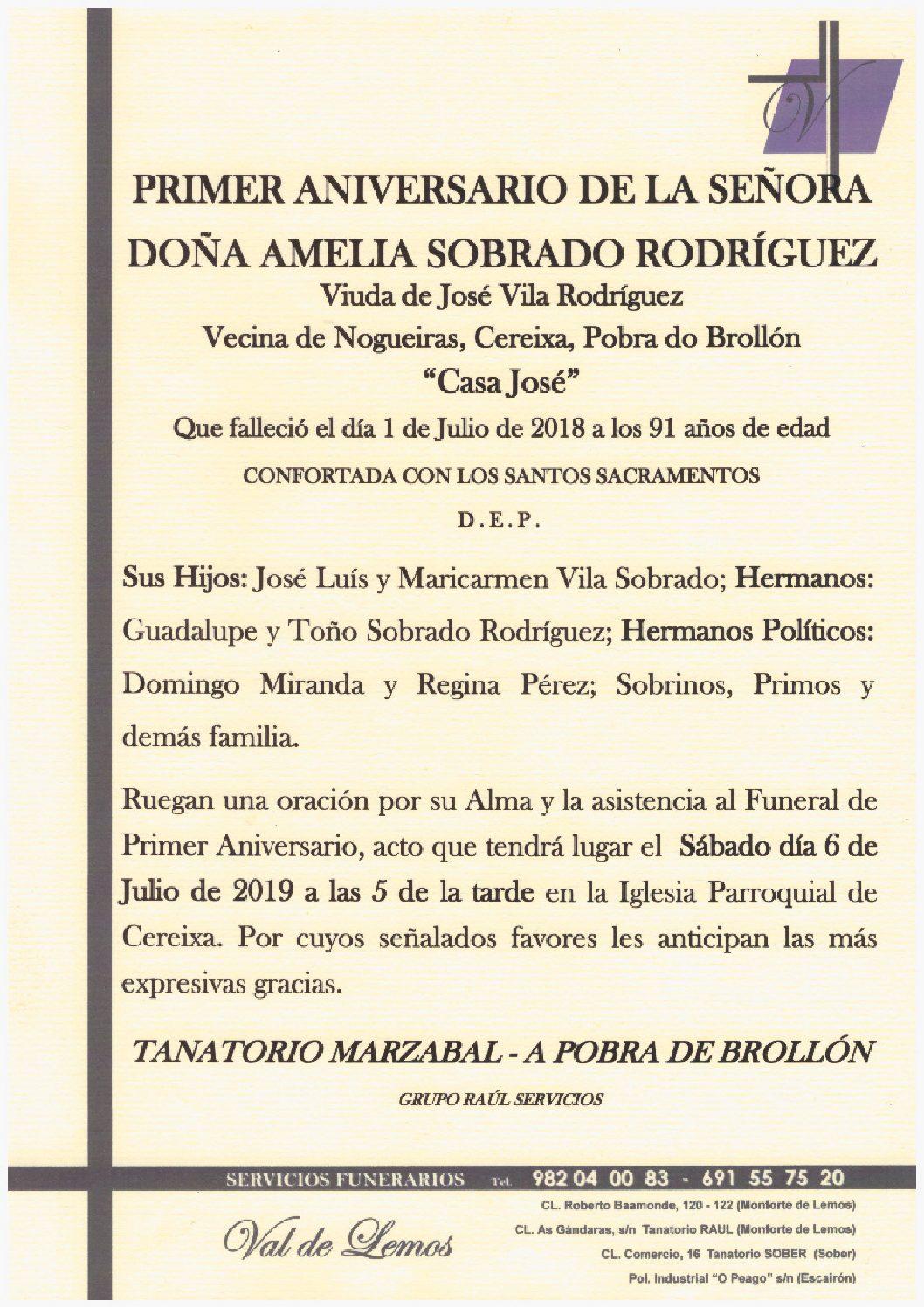 PRIMER ANIVERSARIO DE DOÑA AMELIA SOBRADO RODRIGUEZ