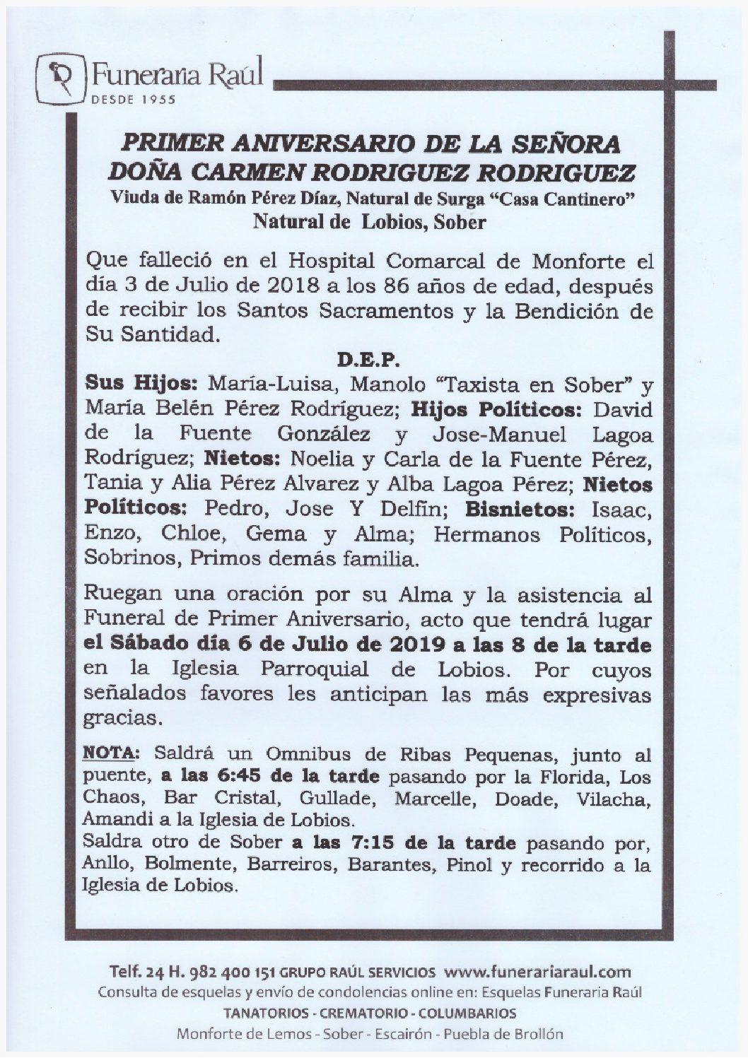 PRIMER ANIVERSARIO DE DOÑA CARMEN RODRIGUEZ RODRIGUEZ
