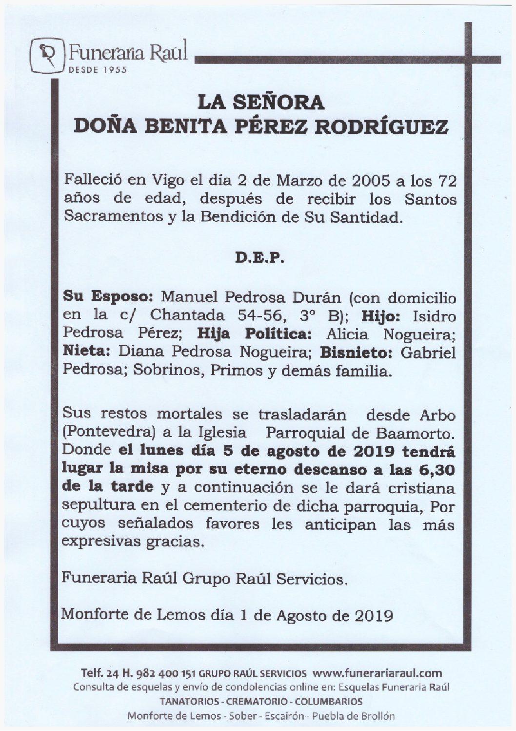 DOÑA BENITA PEREZ RODRIGUEZ
